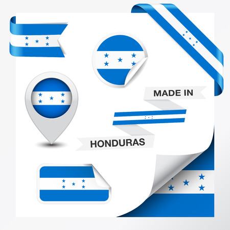 Made in Honduras collection of ribbon Vector