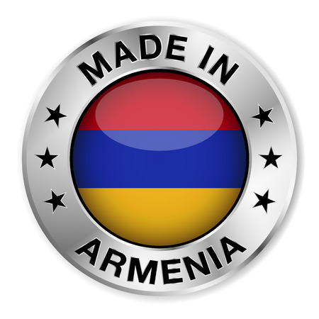 armenian: Made in Armenia silver badge and icon with central glossy Armenian flag symbol and stars