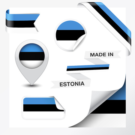 estonia: Made in Estonia collection of ribbon, label, stickers, pointer, badge, icon and page curl with Estonian flag symbol  Illustration