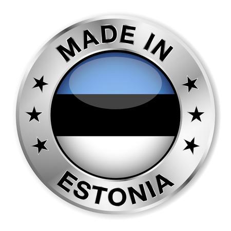 estonia: Made in Estonia silver badge and icon with central glossy Estonian flag symbol and stars  Illustration