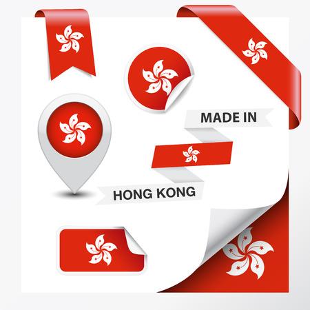 Made in Hong Kong  flag symbol on design element   Vector