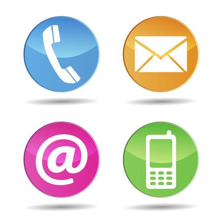 Contacto Web e Internet nos iconos y símbolos del diseño en los botones circulares de colores con efecto brillante Ilustración de vector