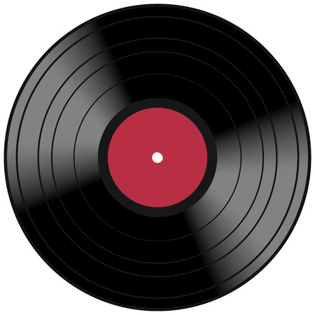 Vintage music record concept with a red vinyl lp album disc and light reflection