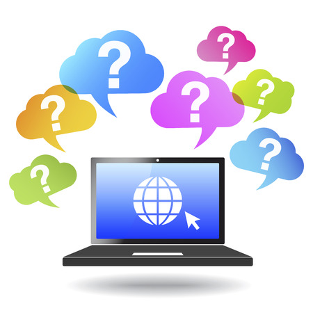 Question mark web and Internet concept with globe icon on a laptop computer and questions mark icons and symbol on colorful clouds  Vector