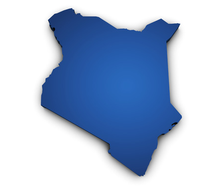 Shape 3d of Kenya map colored in blue and isolated on white background  photo