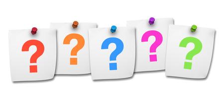 Website, in sozialen Netzwerken und Internet-Konzept mit bunten Fragezeichen-Symbol auf fünf Post-it auf weißem Hintergrund Standard-Bild - 29213953