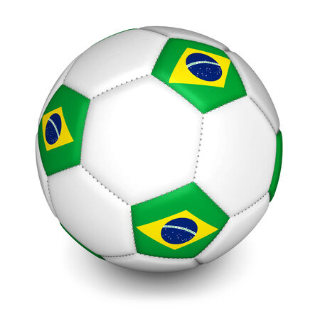 Brazil football concept with a soccer ball with the brazilian flag on white background  photo