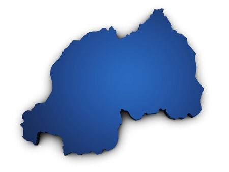 rwanda: Shape 3d of Rwanda map colored in blue and isolated on white background