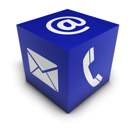 Web and Internet contact us concept with icon and symbol on a blue cube for blog and on line business