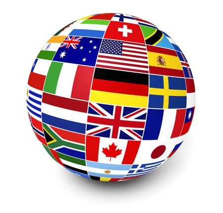 Viajes, servicios y el concepto internacional de gestión de negocio con un globo y banderas internacionales del mundo en el fondo blanco Foto de archivo - 29691508