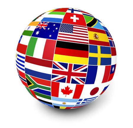 banderas del mundo: Viajes, servicios y el concepto internacional de gesti�n de negocio con un globo y banderas internacionales del mundo en el fondo blanco Foto de archivo