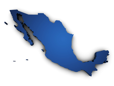 monterrey: Shape 3d of Mexico map colored in blue and isolated on white background