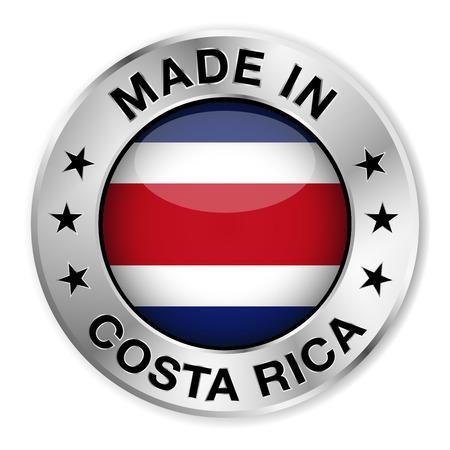 rican: Hecho en insignia de plata Costa Rica y el icono con el brillante s�mbolo de la bandera de Costa Rica central y las estrellas Ilustraci�n vectorial EPS10 aisladas sobre fondo blanco Vectores