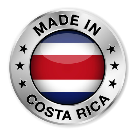 costa rican flag: Made in Costa Rica silver badge and icon with central glossy Costa Rican flag symbol and stars  Vector EPS10 illustration isolated on white background  Illustration