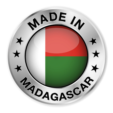 Made in Madagascar silver badge and icon with central glossy Malagasy flag symbol and stars  Vector EPS10 illustration isolated on white background  Illustration