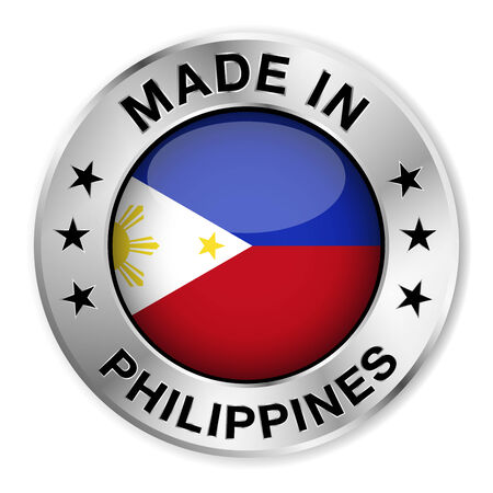 filipino: Made in Philippines silver badge and icon with central glossy Filipino flag symbol and stars  Vector EPS10 illustration isolated on white background  Illustration