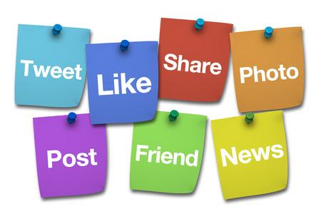 interaccion social: Concepto de medios sociales, web y de Internet con redes sociales palabras y firmar en colorido papel poste él aislados en fondo blanco Foto de archivo