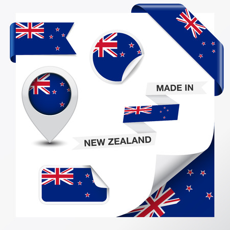 Made in New Zealand collection of ribbon, label, stickers, pointer, badge, icon and page curl with New Zealander flag symbol on design element   Vector