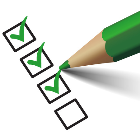 Vector green check mark symbol and icon on checklist with pen for approved design concept and web graphic Çizim