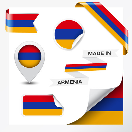 yerevan: Made in Armenia collection of ribbon, label, stickers, pointer, badge, icon and page curl with Armenian flag symbol on design element  Illustration