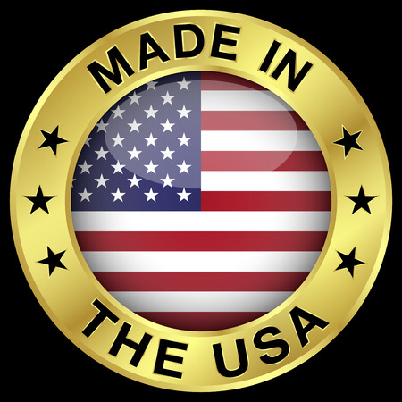 made in: Made in The USA gold badge and icon with central glossy United States Of America flag symbol and stars
