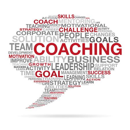 Coaching biznesu i sukcesu życia pojęcia z różnych czerwonym, czarnym i szarym słów tworzących kształt chmury mowy.