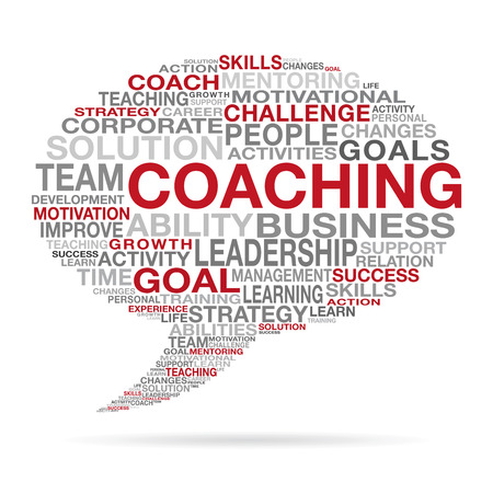 Coaching des Geschäfts- und Lebenserfolgskonzepts mit verschiedenen roten, schwarzen und grauen Wörtern, die eine Sprachwolkenform bilden.