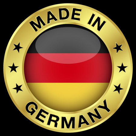 made: Made in Germany gold badge and icon with central glossy German flag symbol and stars.  Illustration