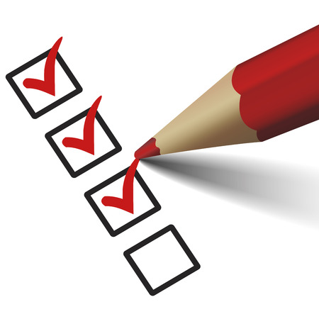 red check mark symbol and icon on checklist with pencil for approved design concept and web graphic Çizim