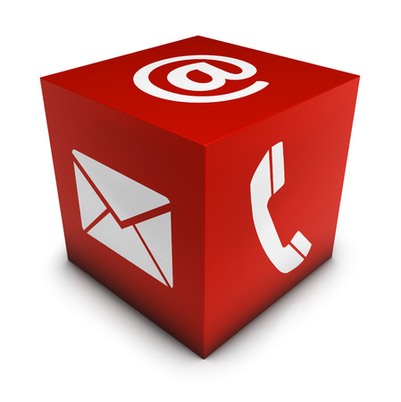 email us: Website and Internet contact us page concept with e-mail, at symbol and telephone icon on a red cube isolated on white background.