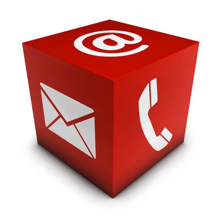 Website und Internet-Seite Kontakt mit uns Konzept mit E-Mail, um Symbol und Telefonsymbol auf rotem Würfel auf weißem Hintergrund. Standard-Bild - 31867634