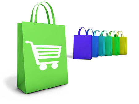 clothing stores: Web and Internet on line shopping concept with basket icon and e-commerce symbol on colorful shopping bags for website and online business. Stock Photo