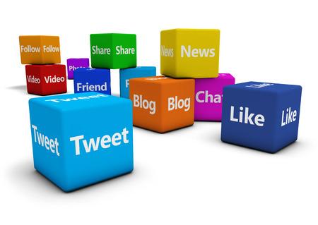 interaccion social: Concepto Web e Internet con las redes sociales y los signos de redes sociales y las palabras en los cubos de colores aislados sobre fondo blanco. Foto de archivo
