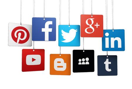 Mil�n, Italia - 14 de septiembre 2014 - Logotipos de famosos de Internet y las redes sociales red social marca