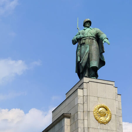 Statue of a Soviet soldier at Soviet War Memorial in Berlin Tiergarten, Germany. Erected to commemorate the soldiers of the Soviet Armed Forces who died during the Battle of Berlin in April and May 1945. Editorial