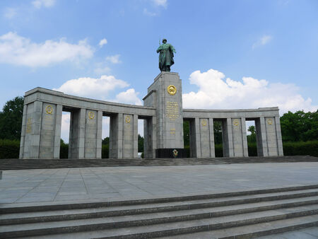 erected: Soviet War Memorial in Berlin Tiergarten, Germany. Erected to commemorate the soldiers of the Soviet Armed Forces who died during the Battle of Berlin in April and May 1945.
