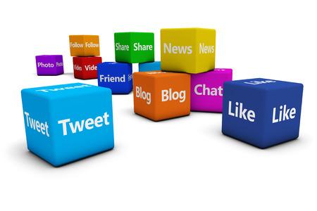 red informatica: Concepto Web e Internet con las redes sociales y los signos de redes sociales y las palabras en los cubos de colores aislados sobre fondo blanco. Foto de archivo