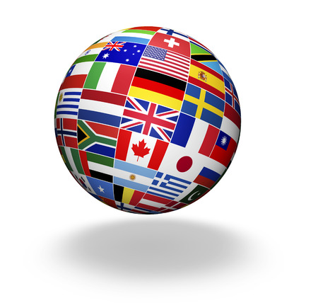 Travel, services, marketing and international business management concept with a globe and international flags of the world, illustration on white background. Archivio Fotografico
