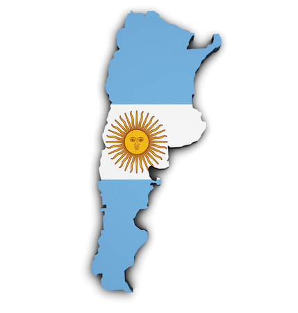 argentina map: Shape 3d of Argentina map with flag, illustration isolated on white background.