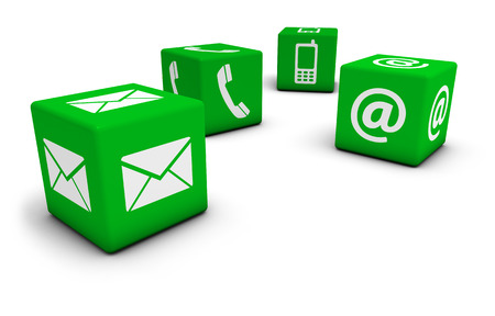 contacts: Web contact us Internet concept with email, mobile phone and at icon and symbol on four green cubes for website, blog and on line business.