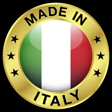 Made in Italy gold badge and Italian flag glossy icon with central symbol and stars. EPS 10 vector illustration isolated on black background. Vector
