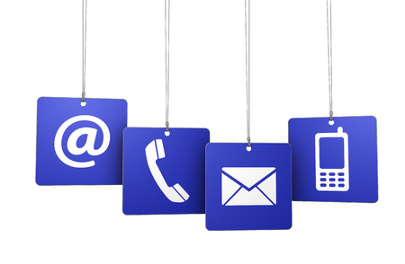 Web and Internet contact us symbol on blue tags with hanged at, email, mobile, and telephone icons isolated on white background. photo