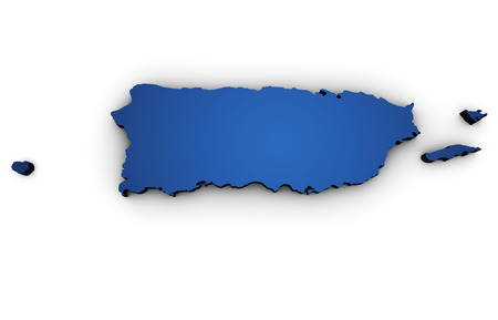 Shape 3d of Puerto Rico map colored in blue and isolated on white background. Stock Photo