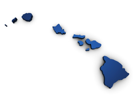 oahu: Shape 3d of Hawaii map colored in blue and isolated on white background. Stock Photo
