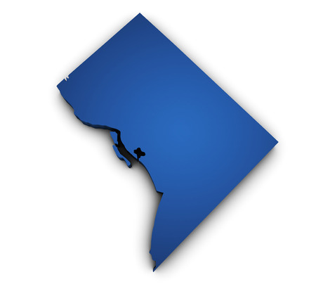 Shape 3d of Washington DC map colored in blue and isolated on white background.