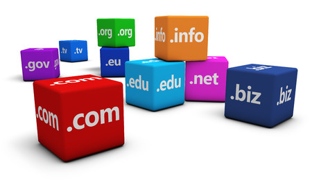 edu: Website and Internet domain names concept with domains sign and text on colorful cubes isolated on white background. Stock Photo