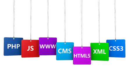 Webdesign and Internet concept with programming languages name and website development tool on colorful hanged tags isolated on white background. photo