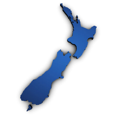 Shape 3d of New Zealand map colored in blue and isolated on white background. Stock Photo
