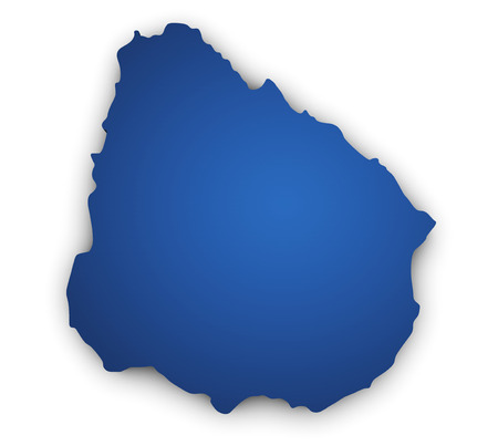 uruguay: Shape 3d of Uruguay map colored in blue and isolated on white background.