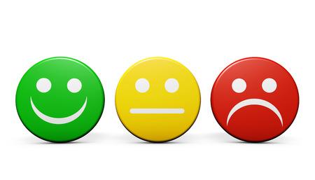 evaluacion: Atención al cliente y la calidad del producto concepto de realimentación con tres iconos emoticonos y símbolos en las insignias redondas aisladas en el fondo blanco.